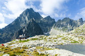 Five Spis Tarns and Teryho Cottage, High Tatras (Vysoke Tatry), — Stock Photo