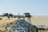 Piers with fishing nets, Gironde Department, Aquitaine, France — Stock Photo