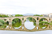 Romanesque bridge over river Arga, Puente La Reina, Road to Sant — ストック写真