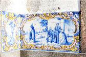 Tiles (azulejos) at railway station of Duas Igrejas, Portugal — Stock Photo