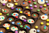 Still life of chocolate with smarties — Stock Photo