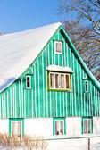 Cottage in winter, Kunstat - Jadrna, Orlicke Mountains, Czech Re — Stock Photo