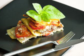 Lasagne with minced turkey meat and tomatoes — Stock Photo