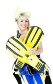 Portrait of young woman wearing neoprene with snorkeling equipme — Stock Photo