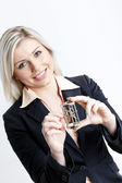 Portrait of young businesswoman with a teaser — Stock Photo