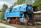 Steam locomotive called Parrot , depot Luzna u Rakovnik — Stock Photo