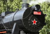 Detail of steam locomotive called Nemka , depot Luzna u — Stock Photo