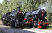 Steam locomotives , depot Luzna u Rakovnika, C — Stock Photo