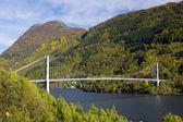 Bridge by Haldanger fjord, Norway — Stock Photo