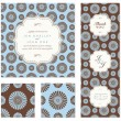 Vector Daisy Pattern and Frame Set — Stok Vektör