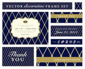 Vector Blue Ornate Frame Set — Stock Vector