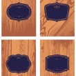Vector Wood Background and Frame Set — Imagens vectoriais em stock