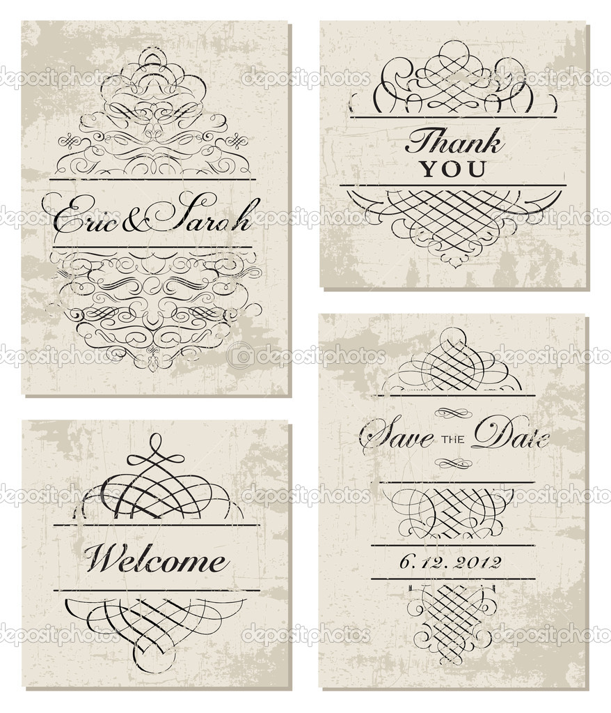 Vector Distressed Ornament and Frame Set. Easy to edit, all ornaments are separated. Perfect for invitations or announcements. — Stock Vector #11370569