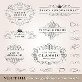 Set di ornamento telaio e disegno vettoriale. — Vettoriale Stock