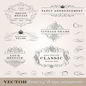Vector Frame and Design Ornament Set. — Stok Vektör
