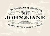 Vector Vintage Wedding Invitation Template — Stock Vector