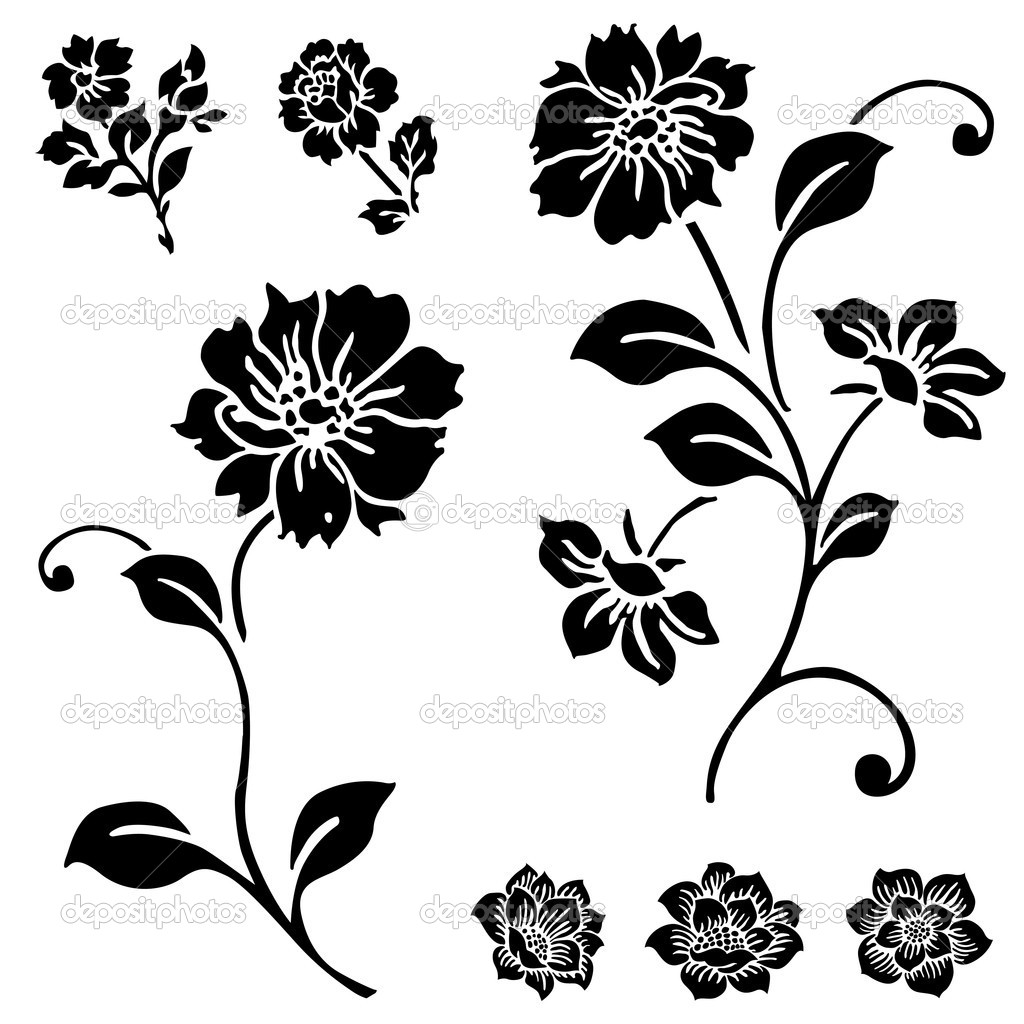 Vector Rose and Flower Set. Easy to edit.  Stockvectorbeeld #12093901