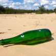 Stock Photo: Green bottle in sands