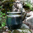 Kettle on stones in forest — Stock Photo