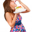 Girl eat cake — Stock Photo