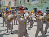 Military brass band performing — Stock Photo