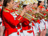 Female Brass Band performing — Stock Photo