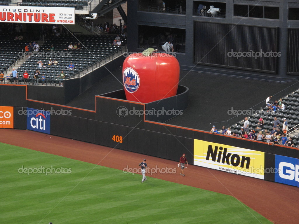 Traditional Home Run Apple at Citi Field during New York Mets batting practice.  Stock Photo #11946693