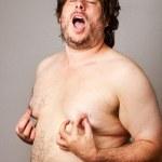 Man pleasuring his own nipples — Stock Photo