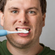 Getting those teeth nice and clean — Stock Photo