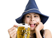 Happy asian with beer — Stock Photo