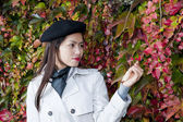 Pretty woman in autumn — Stock Photo