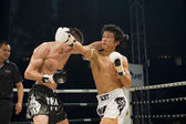 Russian vs korean thai boxer in bangkok — Stock Photo