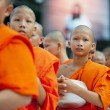 Alms-giving ceremony in Bangkok - Stock Photo