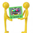 Rubber Figures with Television - Stock Photo