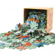 Jigsaw Puzzle Pieces and Box — Stockfoto