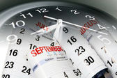 Calendar Pages and Clock — Stock Photo