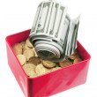 Dollar Notes and Coins in Box — Stock Photo