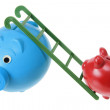 Piggy Banks with Ladder - Stock Photo