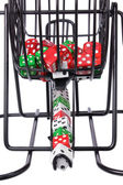 Bingo Game Cage with Dice — Stock Photo