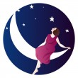 Royalty-Free Stock Vector Image: Woman on the moon
