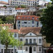 Facades of the old houses in the town Coimbra. Portugal — Stock Photo