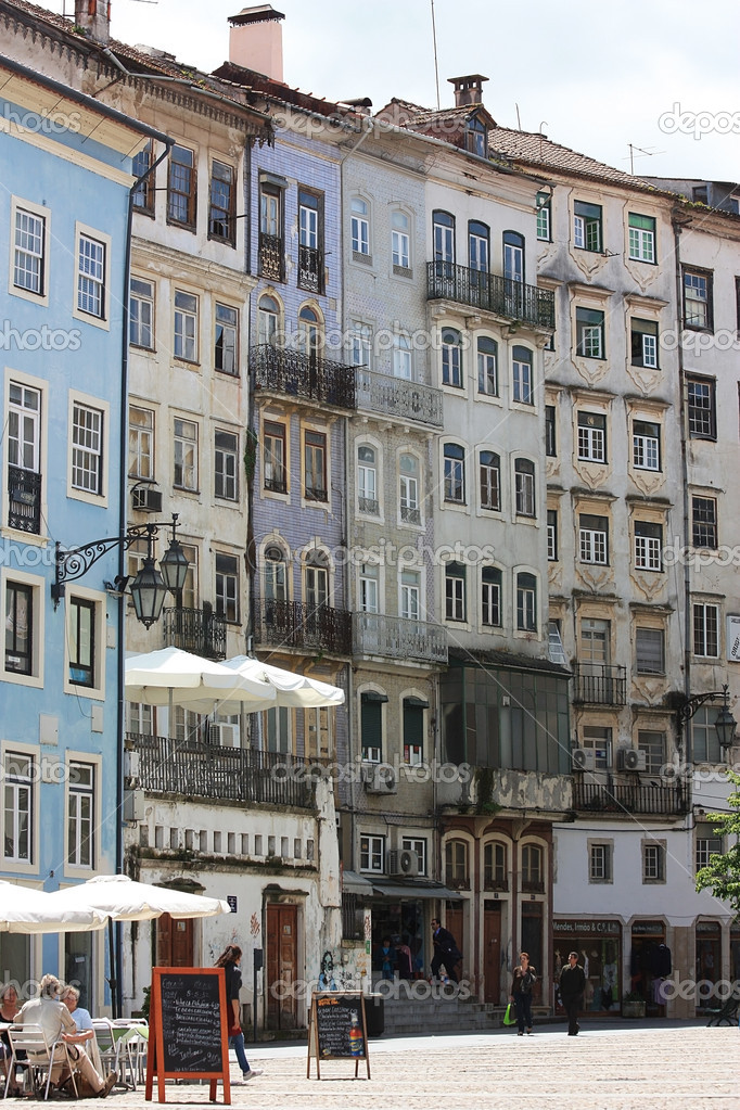 Facades of the  old houses in the town Coimbra. Portugal — Stock Photo #10891139