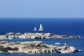 Two sailing yachts at the Mediterranean , Sardinia — Stock Photo