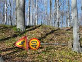 Removed traffic signs in park — Stock Photo