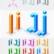 Isometric font from the cubes.Letters I and J. Vector — Stock Vector