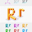 Isometric font from the cubes.Letter R. Vector — Stock Vector