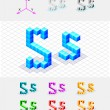 Isometric font from the cubes.Letter S. Vector — Векторная иллюстрация