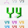 Isometric font from the cubes.Letter Y. Vector — Stock Vector