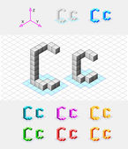 Isometric font from the cubes.Letter C. Vector — Stock Vector
