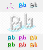 Isometric font from the cubes.Letter B. Vector — Stock Vector